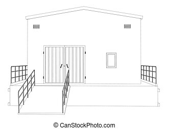 Wire-frame industrial building on the white background....