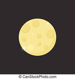 moon with crater illustration icon vector