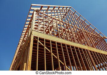 A single family home under construction. The house has been...