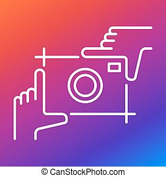 Picture of a photo camera in the form of hands and fingers. Icon for websites, applications, mobile apps White icon on a colored background.