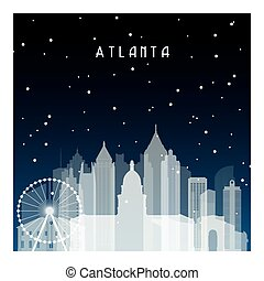 Winter night in Atlanta. Night city in flat style for...