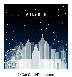 Winter night in Atlanta. Night city in flat style for...
