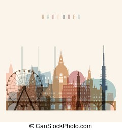 Hannover skyline detailed silhouette. Transparent style....