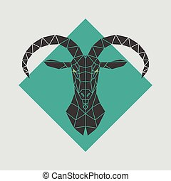 Mountain goat polygonal head. Vector illustration.