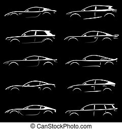 White cars silhouettes.