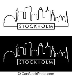 Stockholm skyline. Linear style. Editable vector file.
