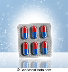 Red and blue pills in a blister on bokeh background. 3d...
