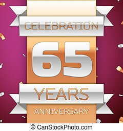 Realistic Sixty five Years Anniversary Celebration Design. Silver and golden ribbon, confetti on purple background. Colorful Vector template elements for your birthday party. Anniversary ribbon