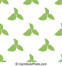 Green basil (Ocimum tenuiflorum) leaves seamless pattern. Vector illustration