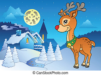 Young Christmas reindeer outdoor 2 - vector illustration