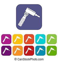 Hand draw rotary tattoo machine icons set flat - Hand draw...