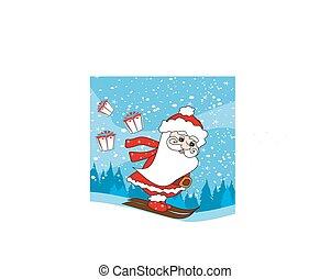 Christmas cartoon character, skiing Santa Claus