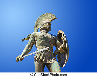 Statue of king Leonidas in Sparta, Greece - history...