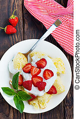 desert with cream and raspberry on the plate