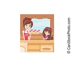 mother and daughter Baking muffins