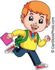 cute boy go to school cartoon