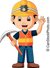 construction man holding axe - illustration of construction...