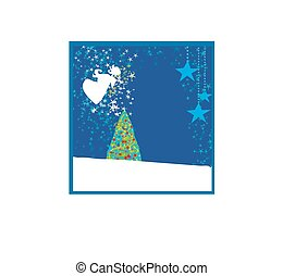 Abstract Christmas card with angels