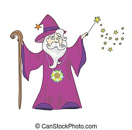 wizard with a wand on a white background