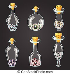 Big set of bottle elixir with eyes. Game design illustration