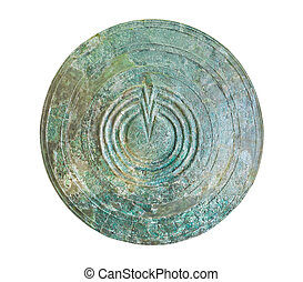 Bronze shield in Delphi museum, Greece isolated on white...