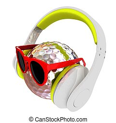 Metal Golf Ball With Sunglasses and headphones. 3d...