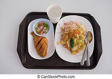 Thai food Pla Nil Tod and brown rice - Thai healthy food Pla...