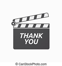Isolated clapper board with    the text THANK YOU