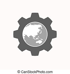 Isolated gear with  an Asia Pacific world globe map