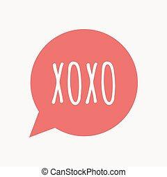 Isolated speech balloon with the text XOXO - Illustration of...