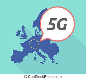 Long shadow EU map with    the text 5G