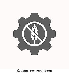 Isolated gear with  a gluten free sign