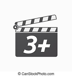 Isolated clapper board with    the text 3+