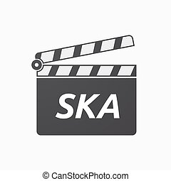 Isolated clapper board with the text SKA - Illustration of...
