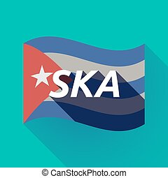 Long shadow Cuba flag with the text SKA - Illustration of a...