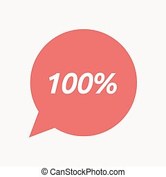 Isolated speech balloon with the text 100% - Illustration of...