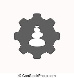 Isolated gear with a stacked zen stones - Illustration of a...