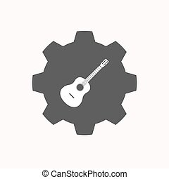 Isolated gear with a six string acoustic guitar -...