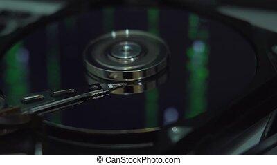 Hard Disk Drive, matrix screen in reflection. - Hard Disk...