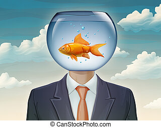 Goldfish and businessman
