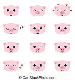 Set of cute piglet emoticons - Set of cute cartoon piglet...