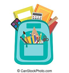 Vector bag with school stationery