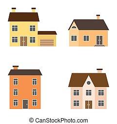 Vector flat suburban houses
