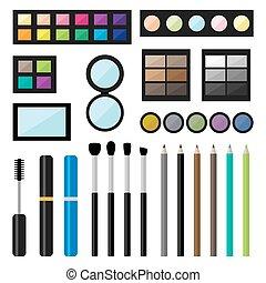 Vector set of make up cosmetics brushes and eyeshadows -...