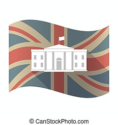 Isolated UK flag with  the White House building