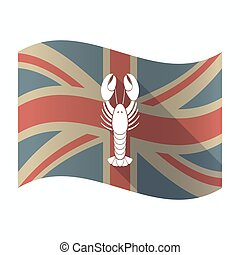 Isolated UK flag with a lobster seafood - Illustration of a...