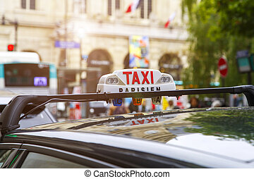 Sign of taxicab in Paris, France