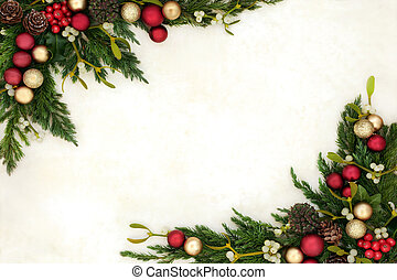 Christmas Bauble Border - Christmas background border with...