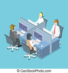 Isometric Business People Working with Headset in a Call...