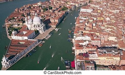 Aerial view of the Grand Canal and Santa Maria della Salute...
